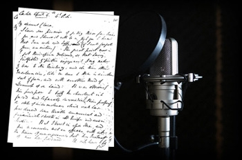 Microphone with a written script