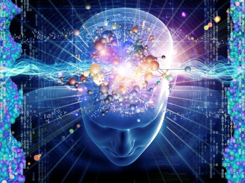 Cosmic looking mind illustration