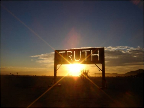 Truth sign in sunset