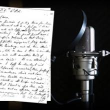 Microphone with a written script